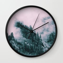 Pink Clouds Creeping Wall Clock