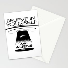 BELIEVE IN YOURSELF AND ALIENS Black Stationery Cards