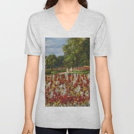 A walk in the park and formal flower gardens by Thomas Edwin Mostyn Unisex V-Neck