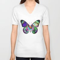 lsd V-neck T-shirts featuring LSD butterfly by Pink Eyed Paranoia