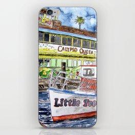 tug boat and beach hut iPhone Skin