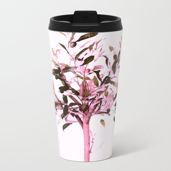 Little olive tree with pink tones on a white background Metal Travel Mug