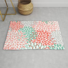 Floral Prints, Coral and Mint Green, Printing Art Rug