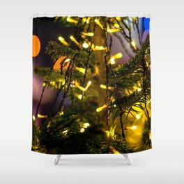 Christmas Tree Decorative Lights Shower Curtain