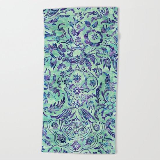 Watercolor Damask Pattern 06 Beach Towel