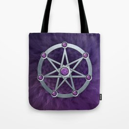 Elven star SIlver embossed with Amethyst Tote Bag