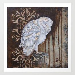 Barnie - Mixed Media Barn owl painting. Art Print