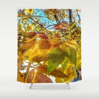camus Shower Curtains featuring Autumn Leaves by Geni