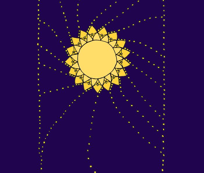 Celestial Swirling Sun Boho Mandala Hand-drawn Illustration Metal Travel Mug