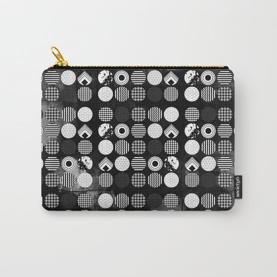 Hectic Geometric On Textured Black And White Carry-All Pouch
