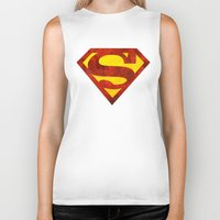 superman Biker Tanks featuring Superman by S.Levis