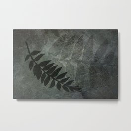 PPG Night Watch Abstract Grunge with Fern Leaf - Foliage Silhouettes Metal Print