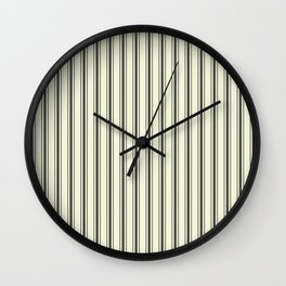 Mattress Ticking Wide Striped Pattern in Dark Black and Beige Wall Clock