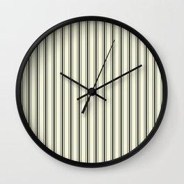 Mattress Ticking Wide Striped Pattern in Dark Black and Beige Wall Clock
