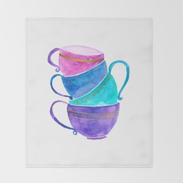 Stacked teacups Throw Blanket