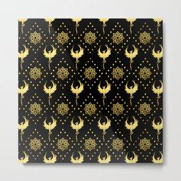 Gold Phoenix and lotus symbol pattern on black Metal Print