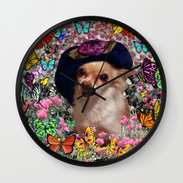 Chi Chi in Yellow, Orange, Red Rainbow Butterflies, Chihuahua Puppy Dog Wall Clock