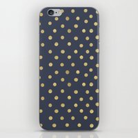 gold dots iPhone & iPod Skins featuring Gold Dots on Blue by Tamsin Lucie