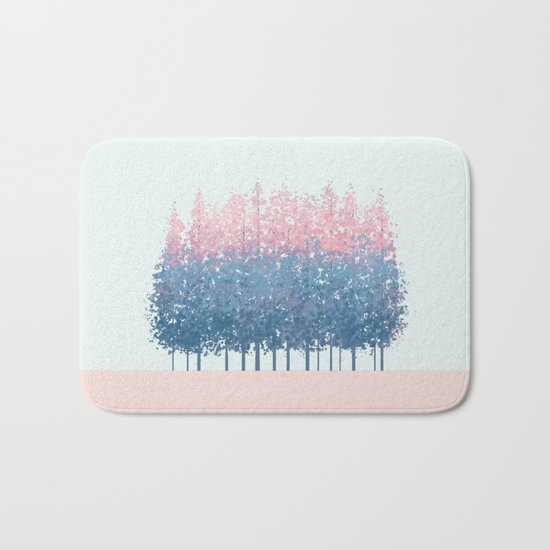 pink and blue trees Bath Mat