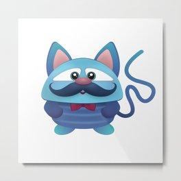 Blue Mutant Cat Metal Print