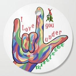 ASL I Love You Under Mistletoe Cutting Board
