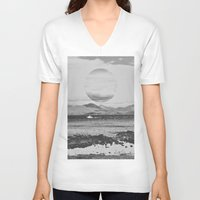gray V-neck T-shirts featuring Gray Waterside by Jane Lacey Smith
