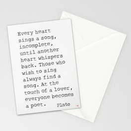 Plato. Every heart sings a song... Stationery Cards