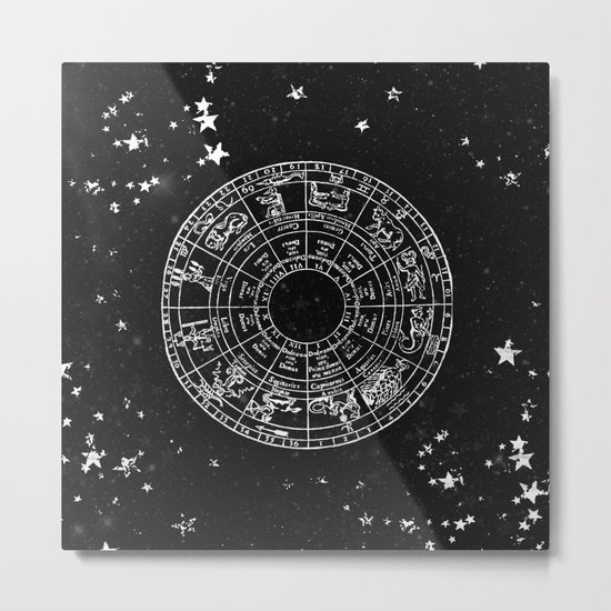 Black and White Vintage Star Map Metal Print