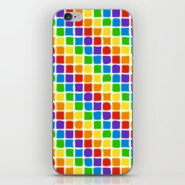 Rainbow Mosaic in Diagonal Stripes on White iPhone Skin