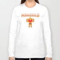8bit Long Sleeve T-shirts featuring 8Bit Manchild by manchildtees.com