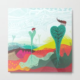 Colourful landscape with young plants, insects and birds Metal Print