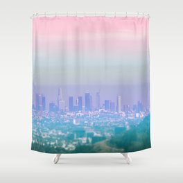 Los Angeles Scenic Southern California Landscape Colored Sun Haze Wall Art Print Shower Curtain
