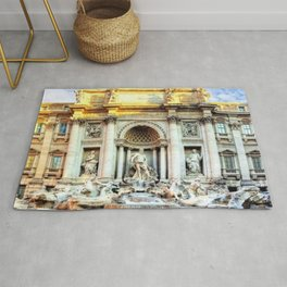 Trevi Fountain and Pool - Rome, Italy Rug