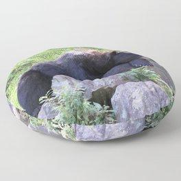 Contemplative Black Bear Floor Pillow