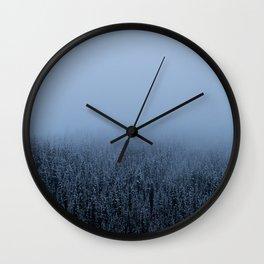 Foggy Lake Louise Trees Wall Clock