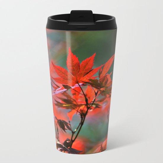 Scarlet Japanese Maple Leaves Metal Travel Mug