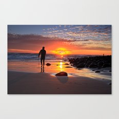 Evening Sunset Surfing Canvas Print