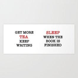 writing tea Art Print
