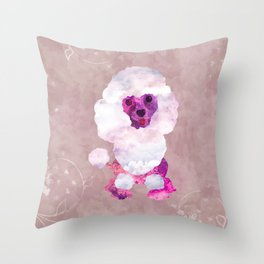 Watercolor Poodle Puppy Digital Art Throw Pillow