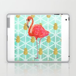 Illustrated Pink Flamingo and Gold Pineapple Design Laptop & iPad Skin