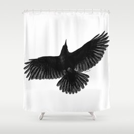 Crow In Flight illustration Shower Curtain