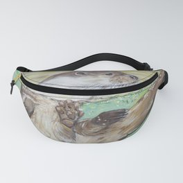 Playful River Otter Painting Fanny Pack