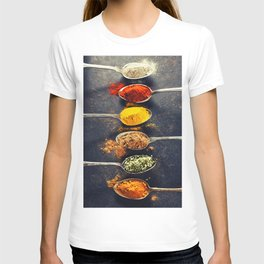 Colorful spices in metal spoons T-shirt