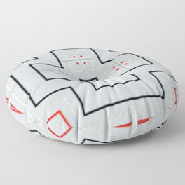 Red And Black Geometric Cross Pattern On Grey Background. Floor Pillow
