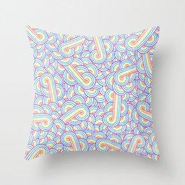 Rainbow and white swirls doodles Throw Pillow