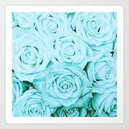 Turquoise roses - flower pattern - Vintage rose Art Print