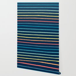 Blue Festival Rainbow Stripe Wallpaper