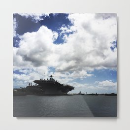 Pearl Harbor Aircraft Carrier Silhouette Metal Print