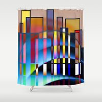 seattle Shower Curtains featuring Seattle by Kristine Rae Hanning