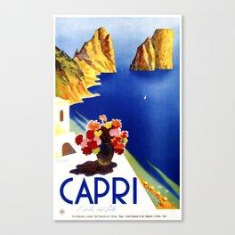 1952 Capri Italy Travel Poster Canvas Print